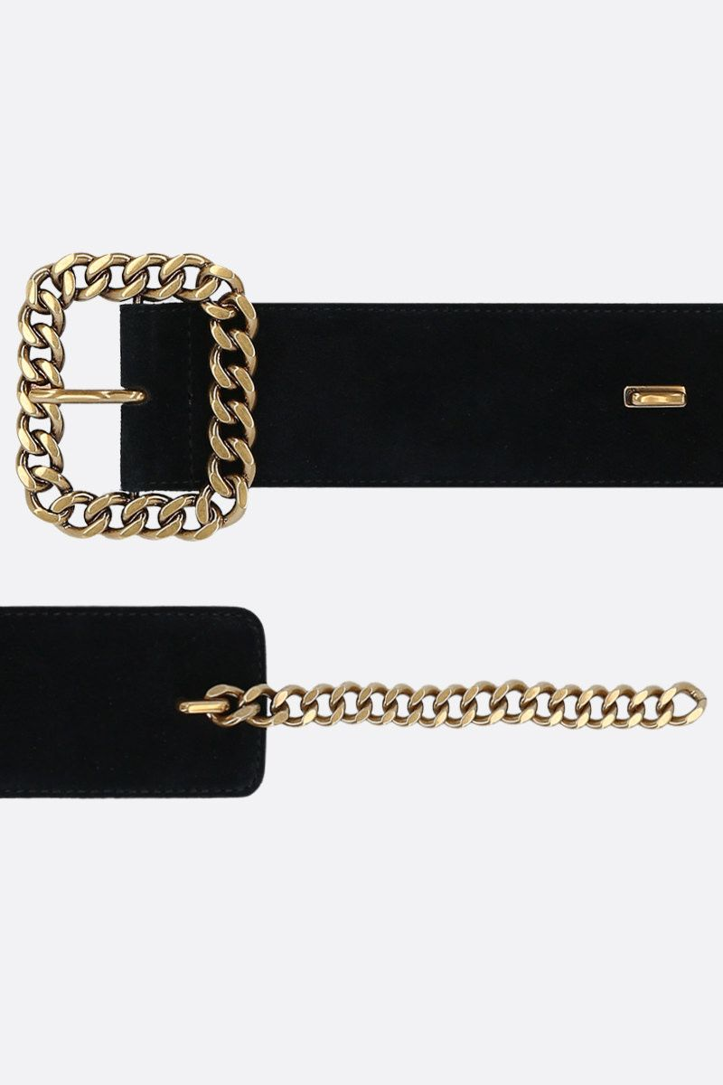 SAINT LAURENT: velvet suede belt Color Black_2
