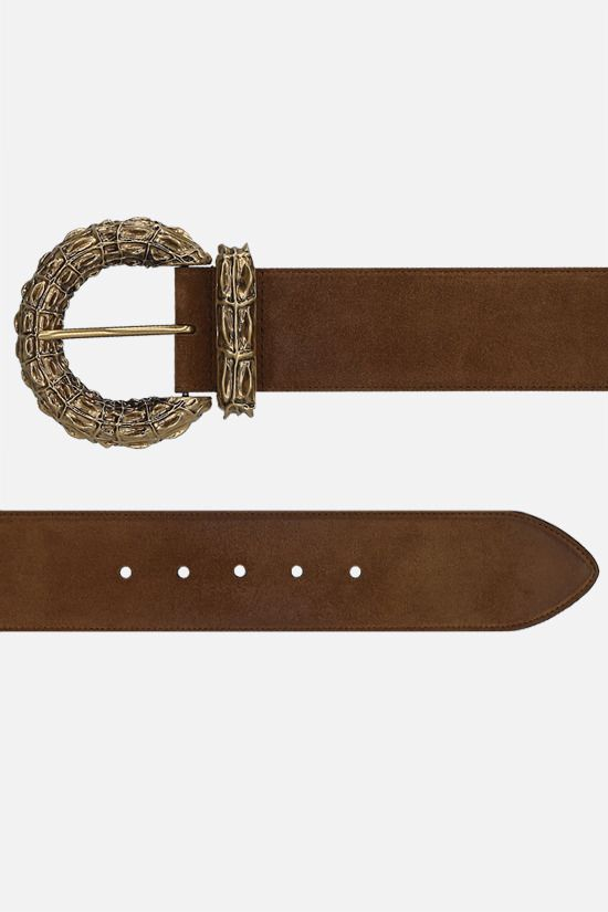 SAINT LAURENT: crocodile buckle suede belt Color Brown_2
