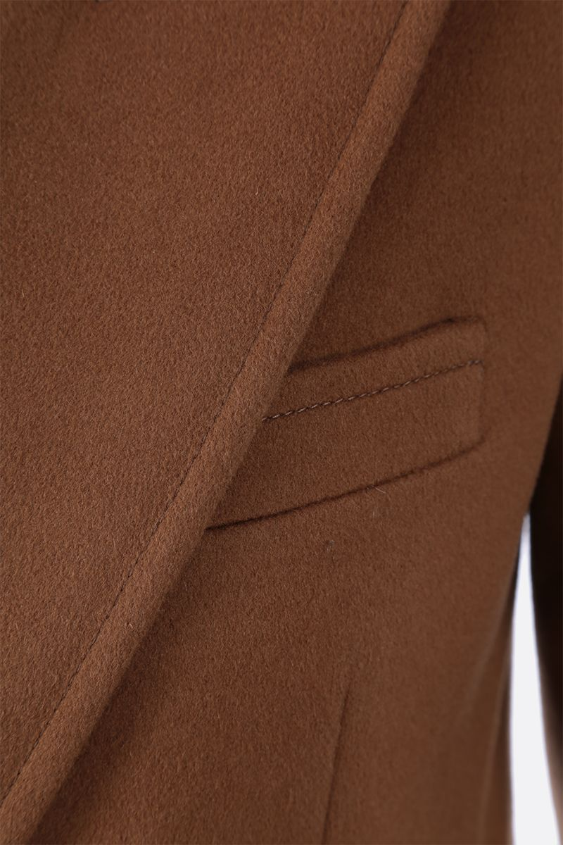SAINT LAURENT: wool cashmere blend double-breasted jacket Color Brown_4