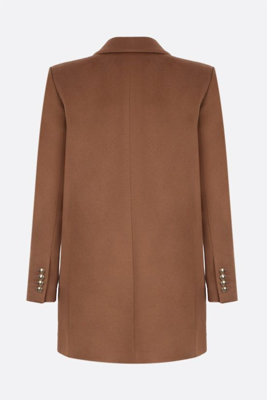 SAINT LAURENT: double-breasted wool cashmere blend jacket Color Brown_2