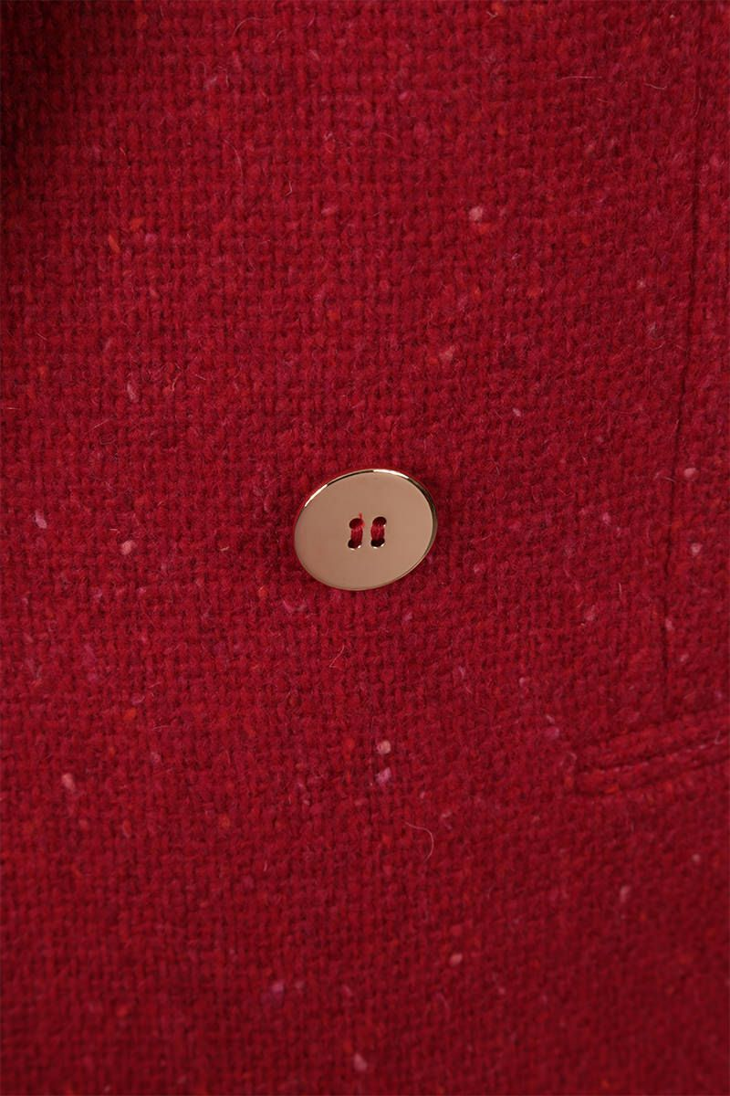 SAINT LAURENT: wool bouclè double-breasted jacket Color Red_3