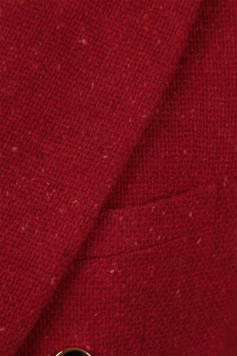 SAINT LAURENT: wool bouclè double-breasted jacket Color Red_4