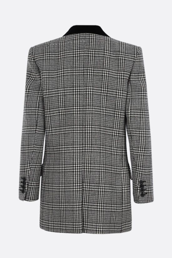 SAINT LAURENT: double-breasted prince of wales wool jacket Color Grey_2