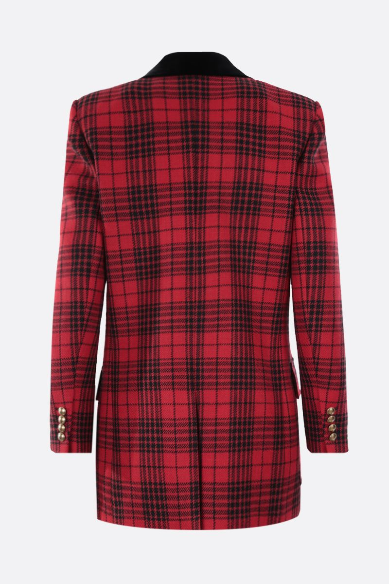 SAINT LAURENT: double-breasted prince of wales wool jacket Color Red_2