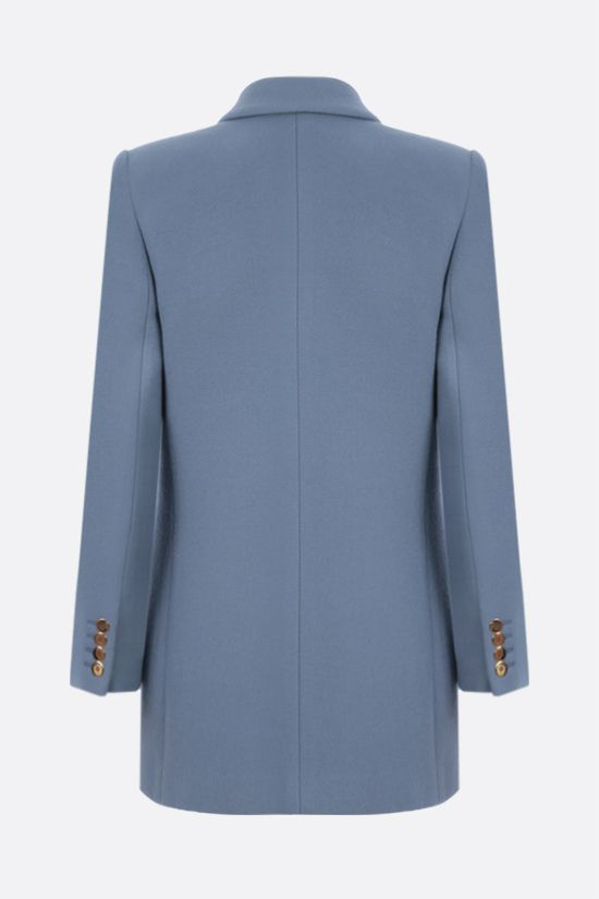 SAINT LAURENT: double-breasted wool cashmere blend jacket Color Blue_2