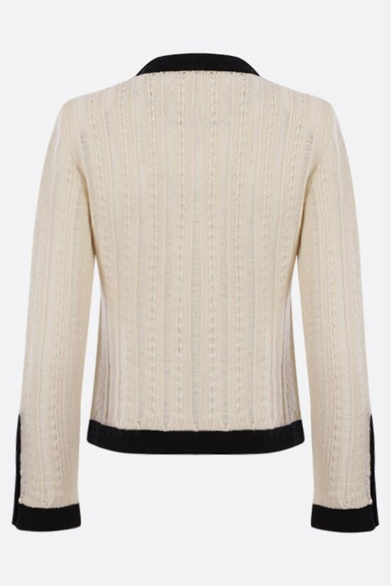SAINT LAURENT: contrasting trims wool jacket Color Neutral_2