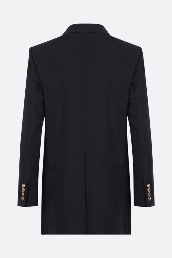 SAINT LAURENT: double-breasted herringbone wool jacket Color Blue_2