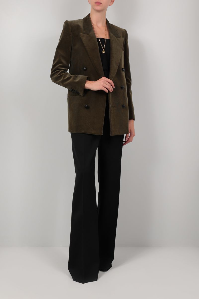 SAINT LAURENT: double-breasted corduroy jacket Color Green_2