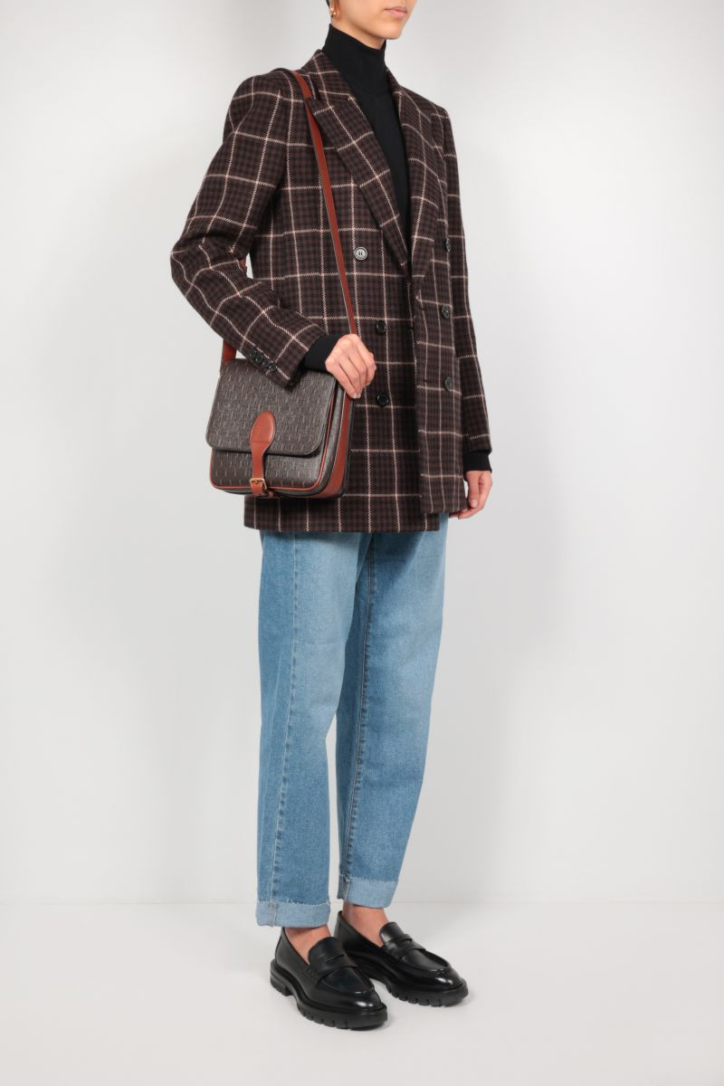 SAINT LAURENT: double-breasted houndstooth wool jacket Color Brown_2