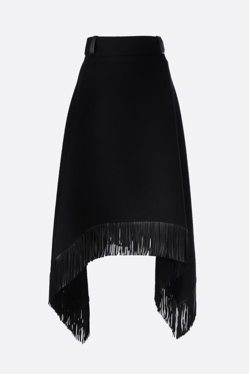 SAINT LAURENT: gonna asimmetrica in lana e cashmere con frange Colore Nero_1