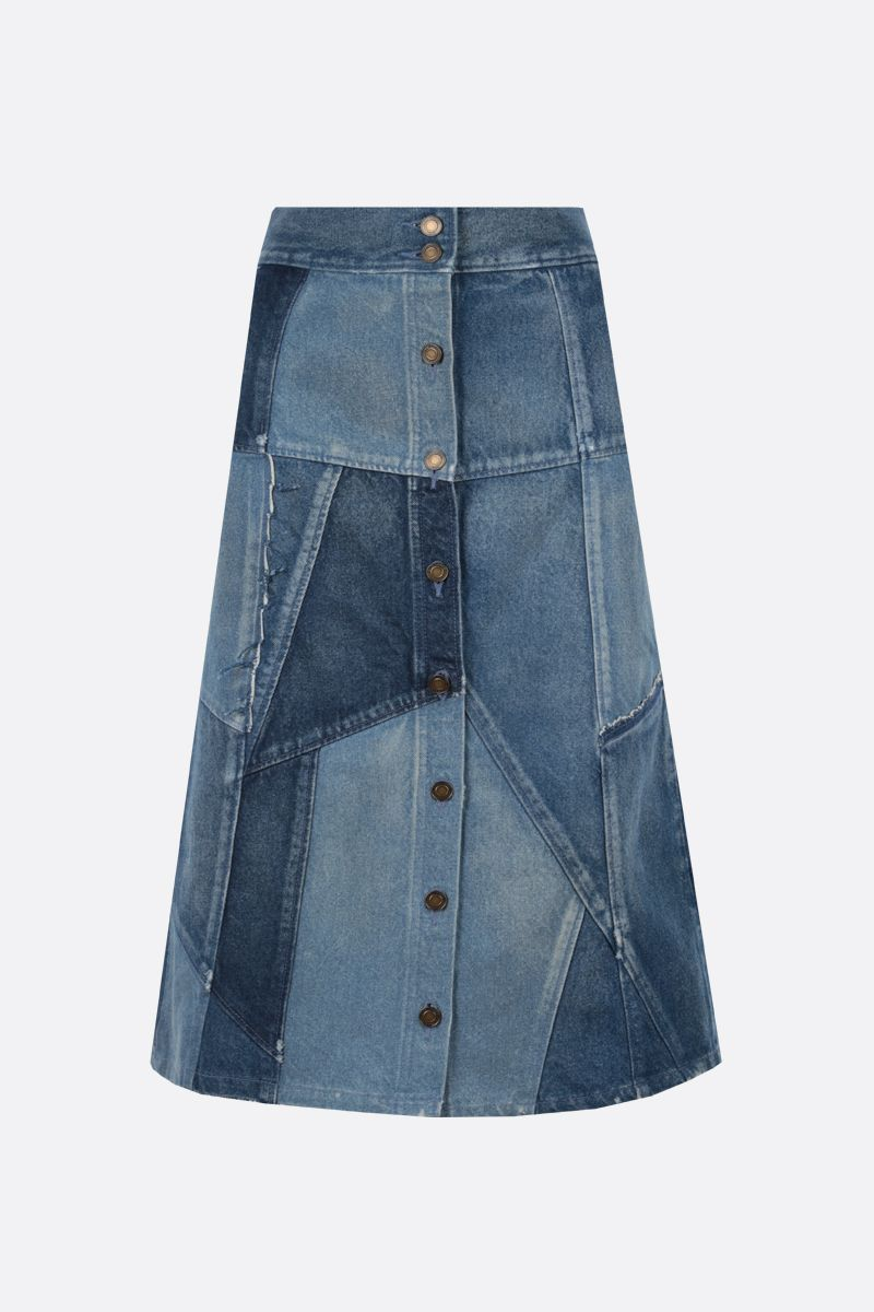 SAINT LAURENT: patchwork denim midi skirt Color Blue_1