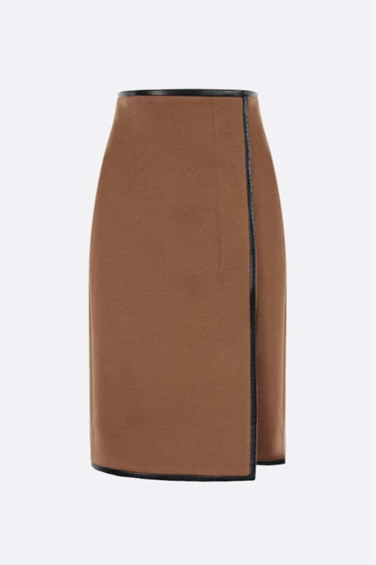 SAINT LAURENT: wool flannel wrap skirt Color Neutral_1