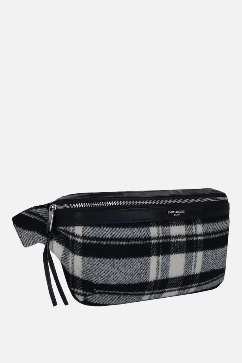 SAINT LAURENT: check wool belt bag Color Black_2