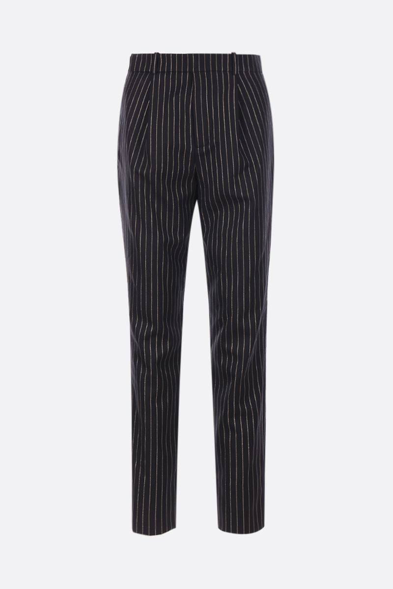 SAINT LAURENT: high-waisted wool and lurex pants Color Black_1