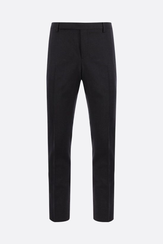 SAINT LAURENT: pantalone in mohair e lana a motivo gessato Colore Nero_1