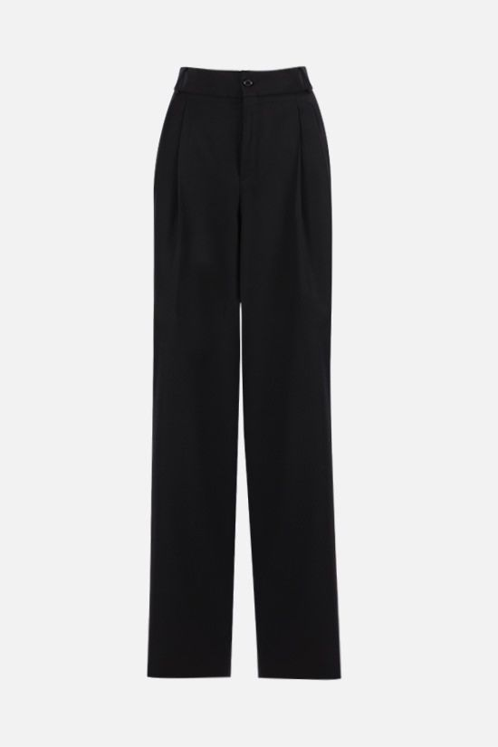 SAINT LAURENT: darted wide-leg wool pants Color Black_1