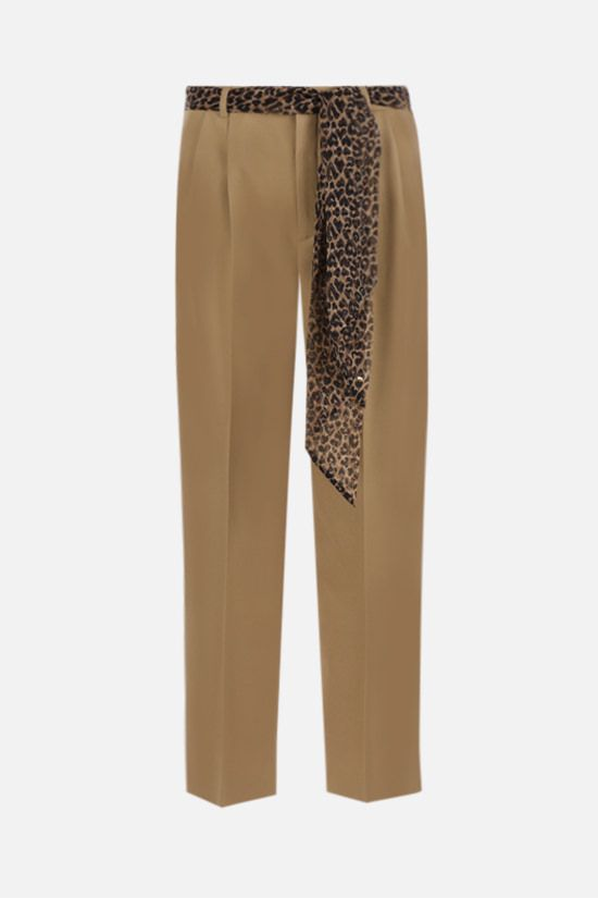 SAINT LAURENT: wool pants with leopard-print silk belt Color Neutral_1
