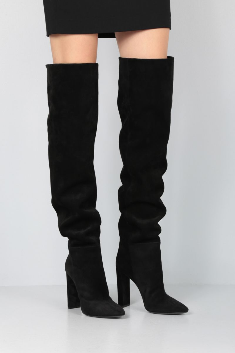 SAINT LAURENT: 76 suede over-the-knee boots Color Black_2