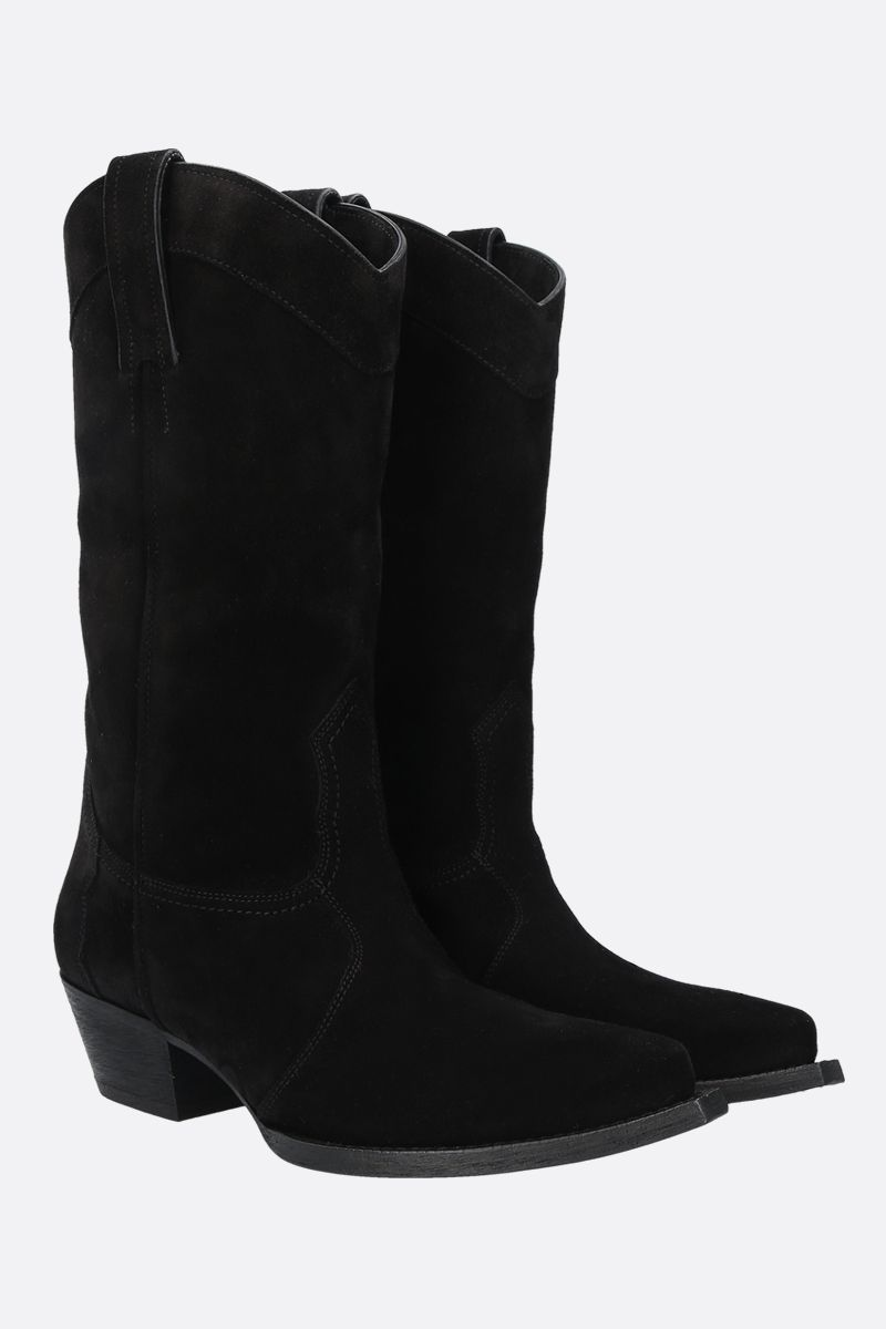 SAINT LAURENT: Lukas suede western boots Color Black_2