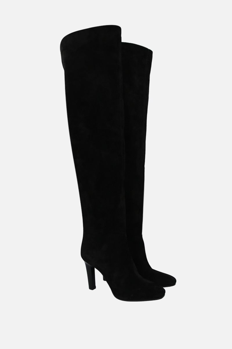 SAINT LAURENT: Jane velvet suede over-the-knee boots Color Black_2