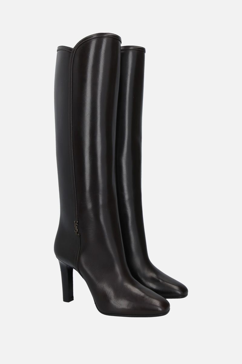 SAINT LAURENT: Jane shiny leather boots Color Brown_2