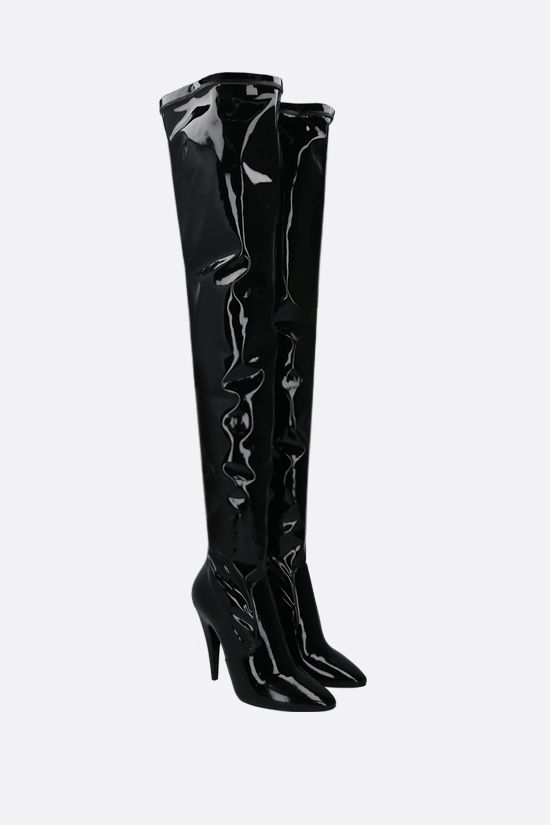 SAINT LAURENT: Aylah vinyl over-the-knee boots Color Black_2