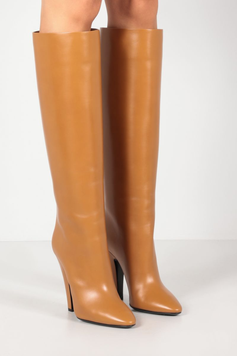 SAINT LAURENT: Tube 68 smooth leather boots Color Brown_2