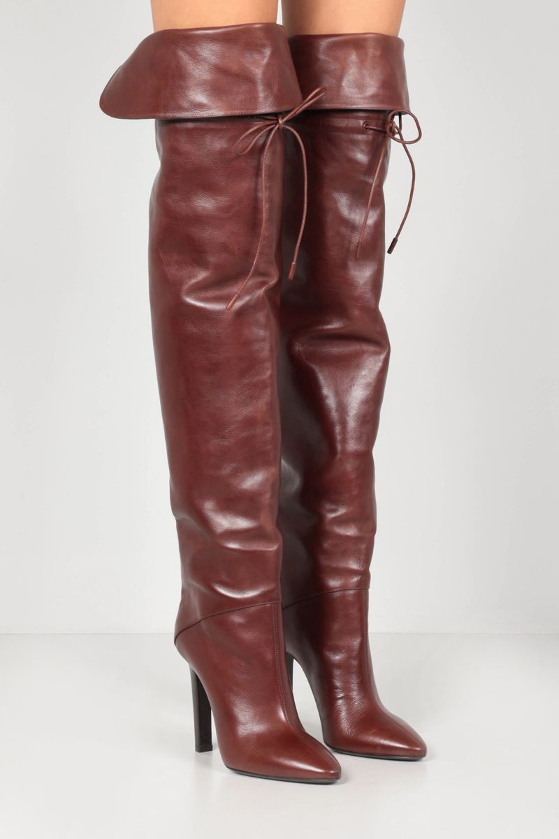 SAINT LAURENT: Jane smooth leather over-the-knee boots Color Brown_2