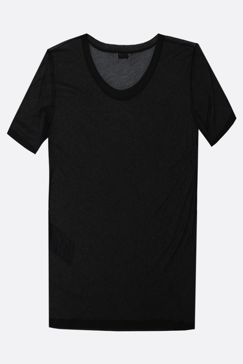 SAINT LAURENT: see-through cotton t-shirt Color Black_2