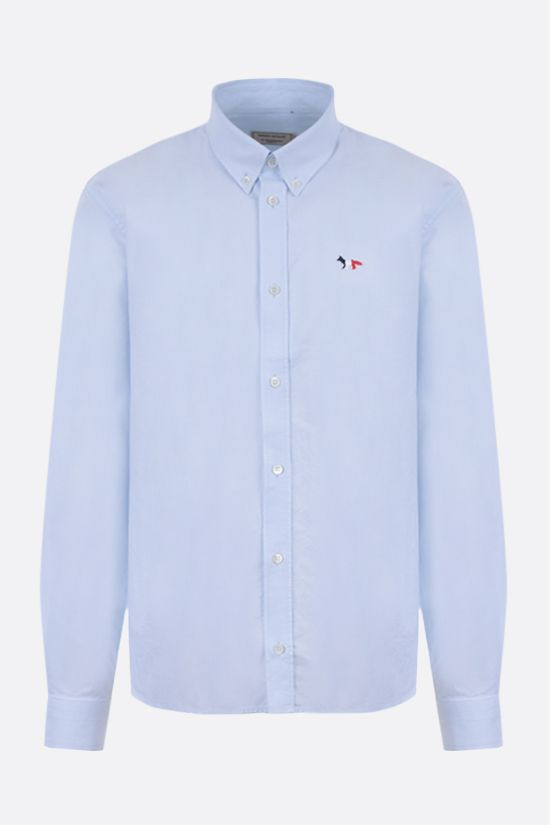 MAISON KITSUNÈ: Tricolor Fox patch cotton shirt Color Blue_1