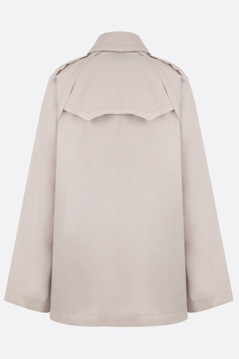 MAISON MARGIELA: cotton blend single-breasted trench coat Color Neutral_2