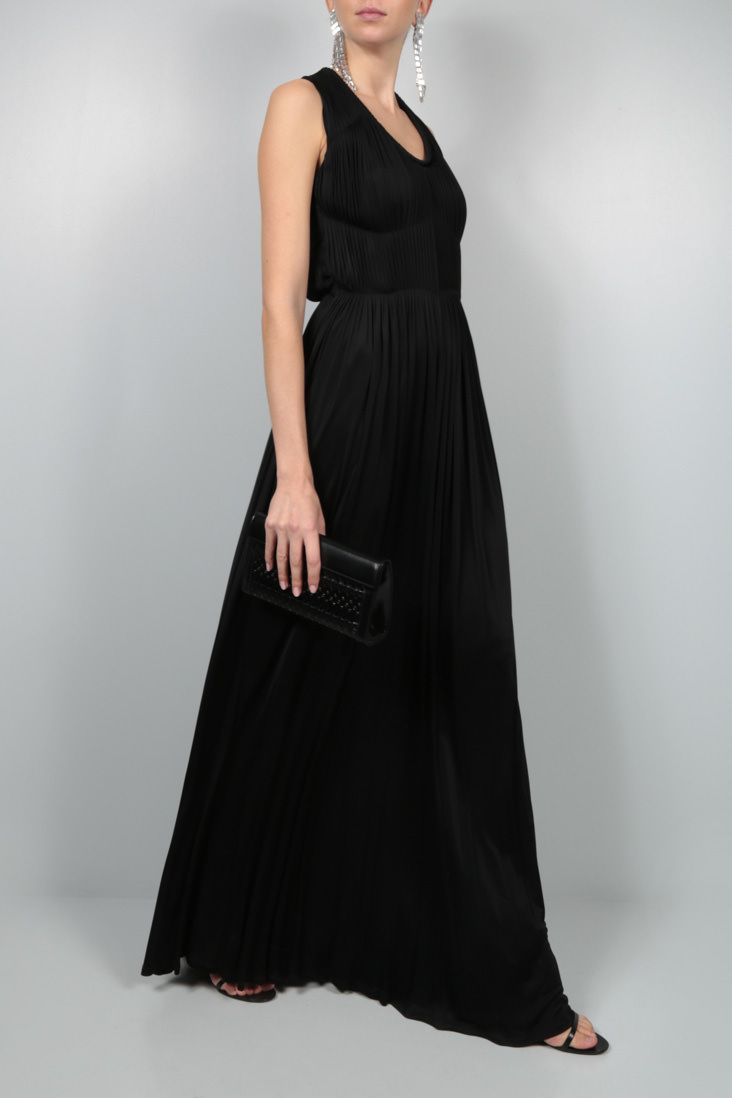 SOPHIA KOKOSALAKI: pleated jersey long dress Color Black_2