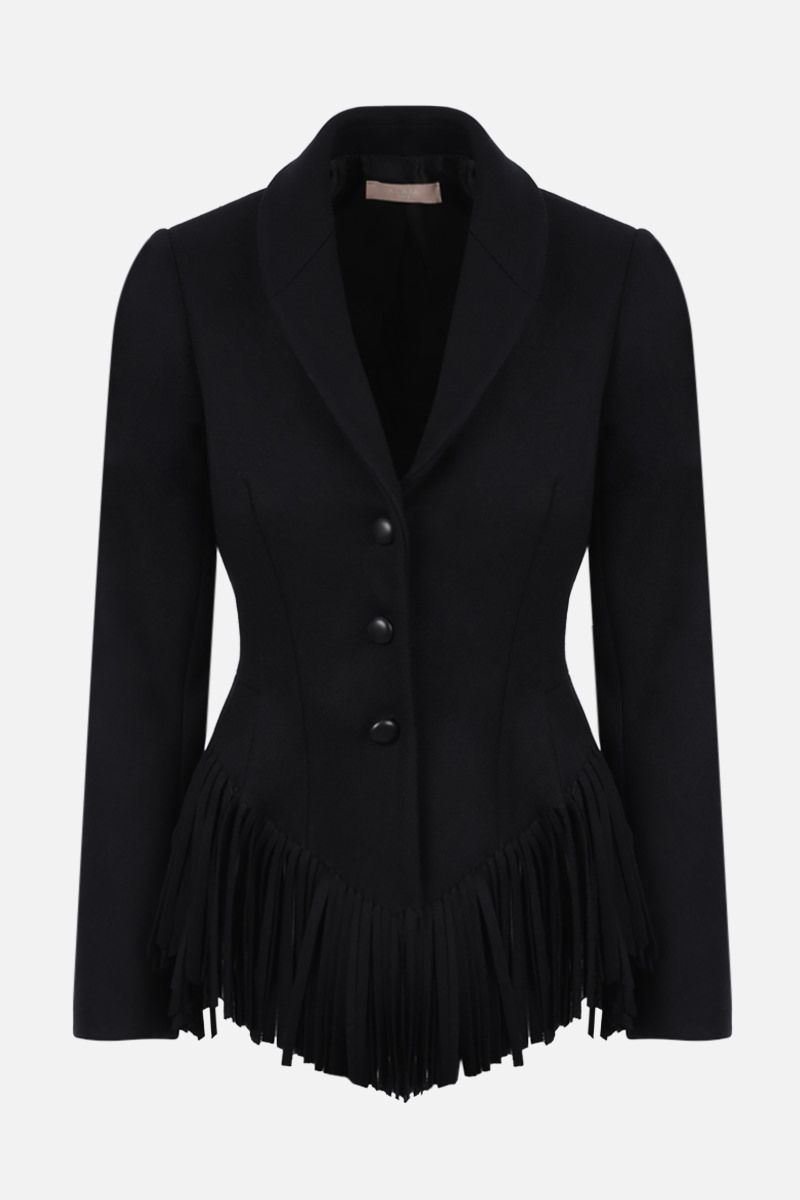 ALAIA: fringe-detailed single-breasted wool cashmere blend jacket Color Black_1