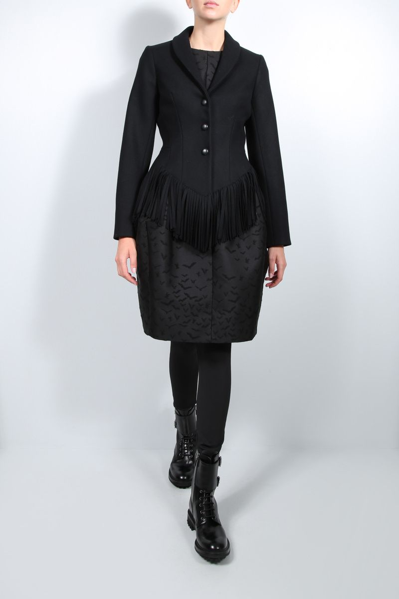 ALAIA: fringe-detailed single-breasted wool cashmere blend jacket Color Black_2