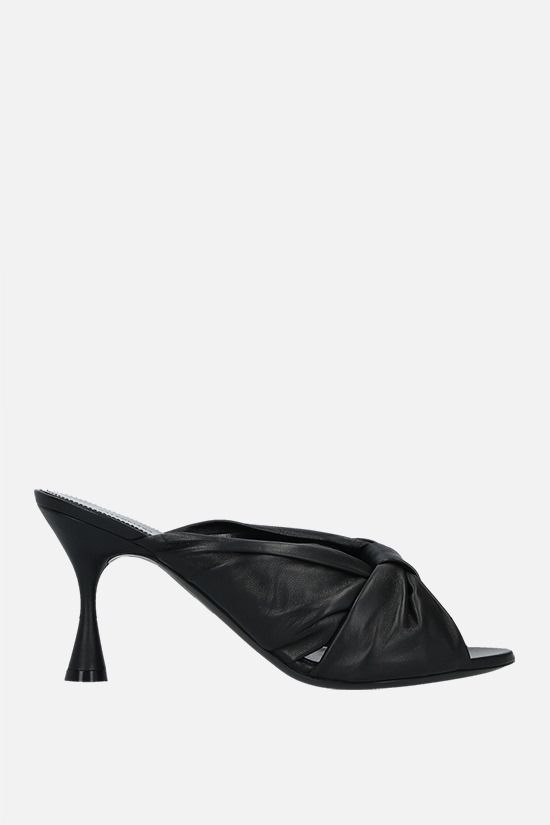 BALENCIAGA: Drapy soft nappa mule sandals Color Black_1