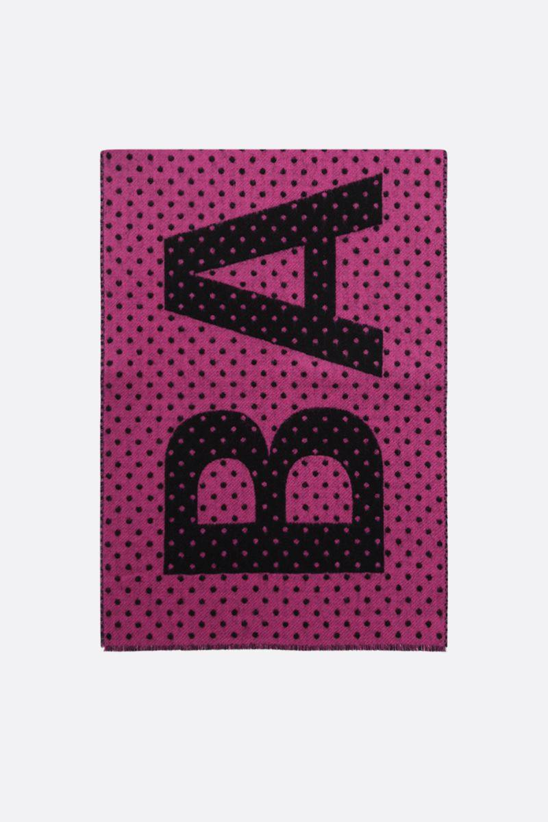 BALENCIAGA: logo-detailed polka-dot wool scarf_1