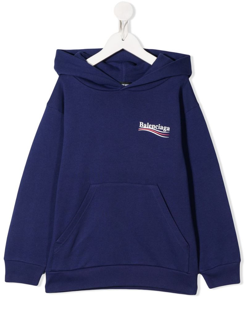 BALENCIAGA KIDS: Balenciaga print cotton hoodie Color Blue_1