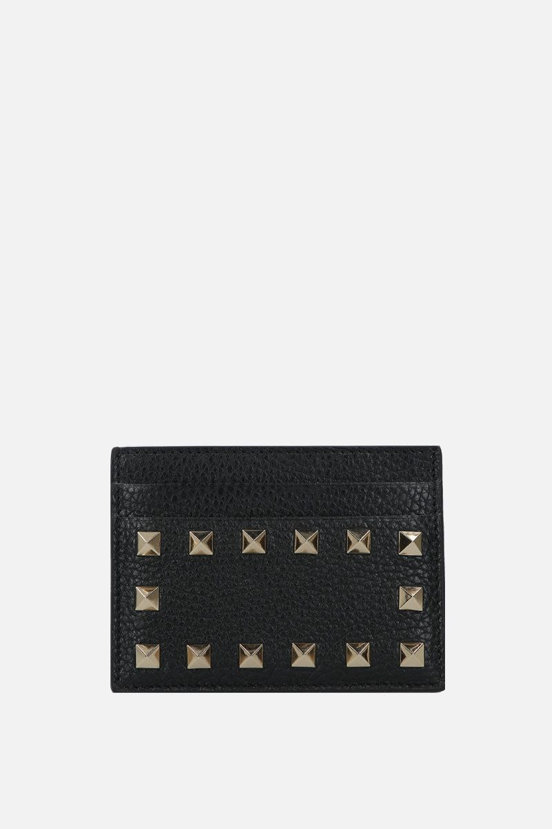 VALENTINO GARAVANI: Rockstud moose embossed leather card case Color Black_1