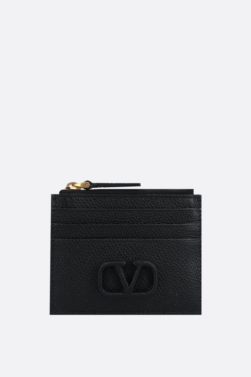 VALENTINO GARAVANI: VSLING grainy leather zip card case Color Black_1
