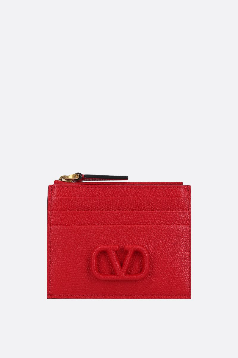 VALENTINO GARAVANI: VSLING grainy leather zip card case_1