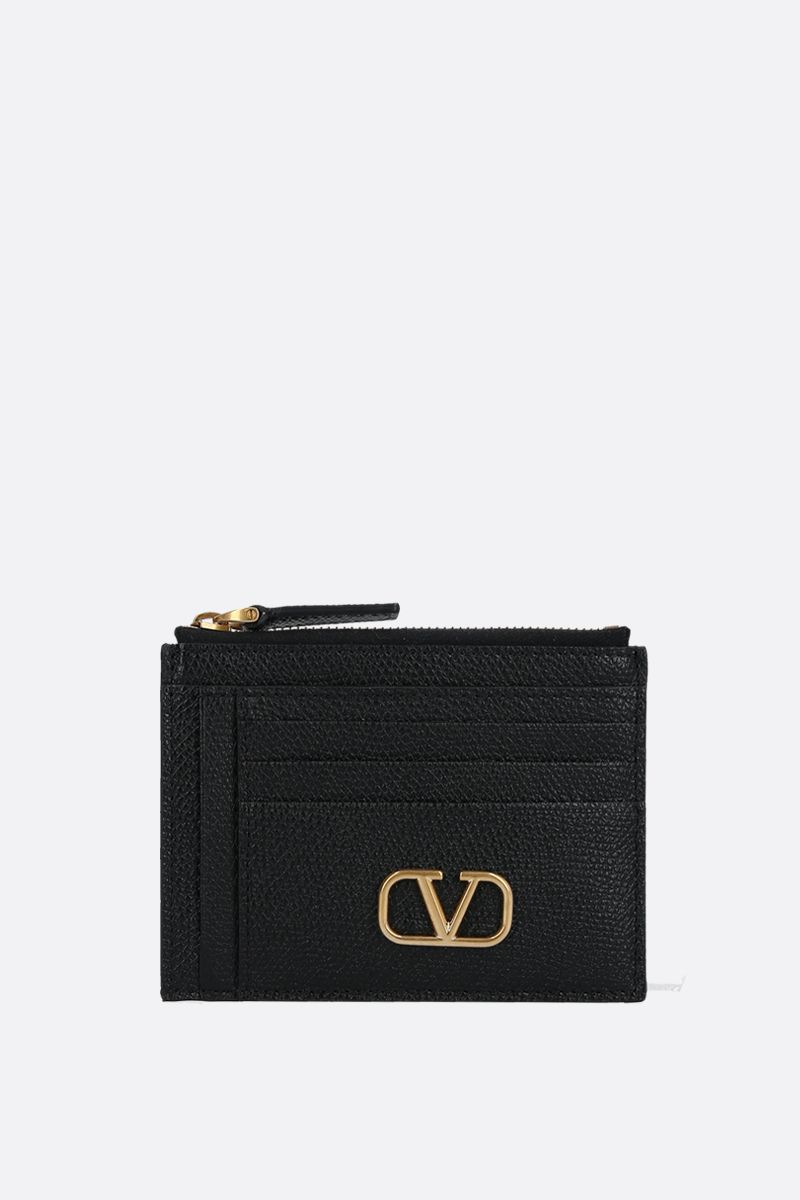 VALENTINO GARAVANI: VLOGO grainy leather zip card case Color Black_1