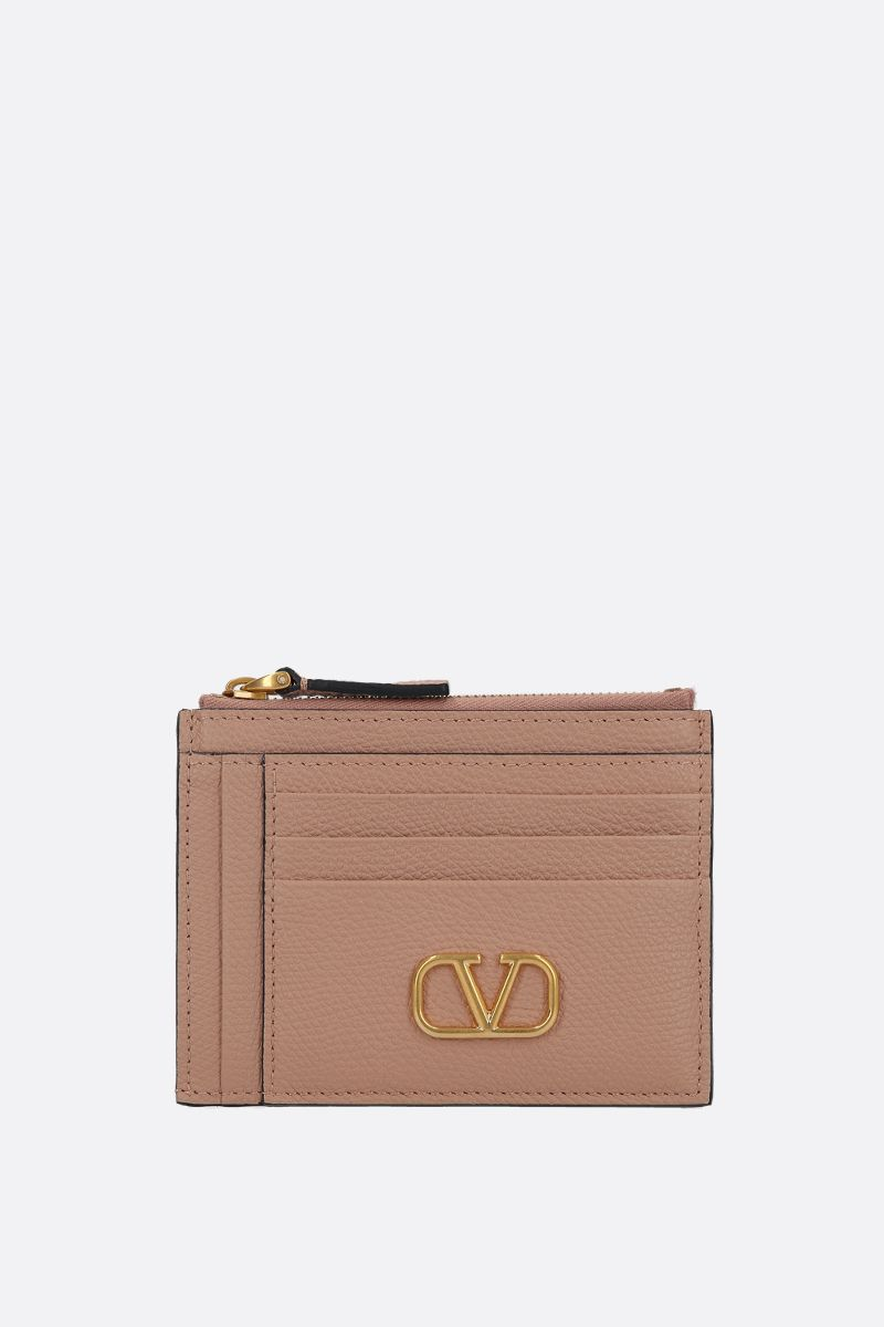 VALENTINO GARAVANI: VLOGO grainy leather zip card case_1