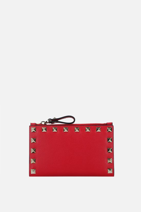 VALENTINO GARAVANI: Rockstud smooth leather card case Color Red_1