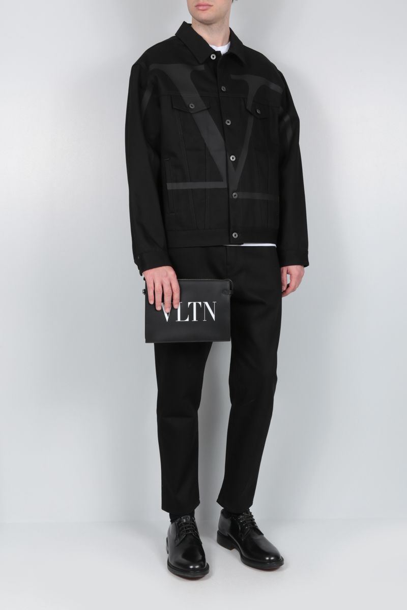 VALENTINO: deconstructed VLOGO print denim oversized jacket Color Black_2