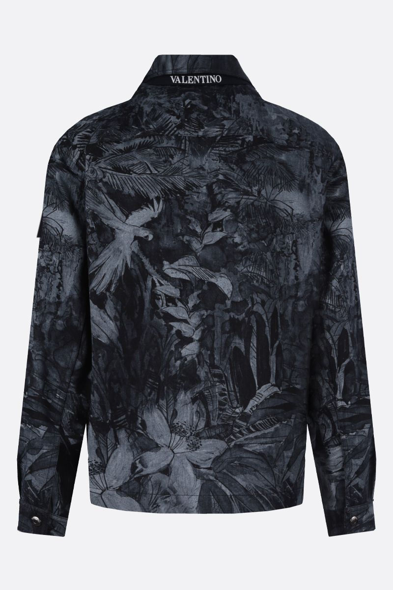 VALENTINO: Mural Jungle print denim jacket Color Blue_2
