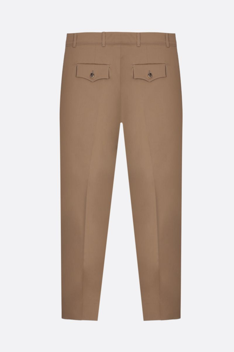 VALENTINO: V Gold-detailed stretch cotton cropped pants Color Neutral_2