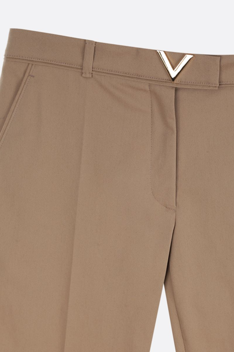 VALENTINO: V Gold-detailed stretch cotton cropped pants Color Neutral_3