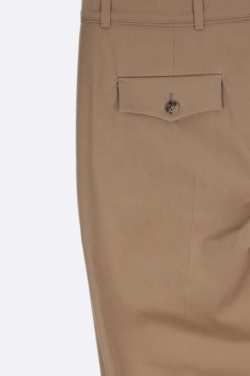 VALENTINO: V Gold-detailed stretch cotton cropped pants Color Neutral_4