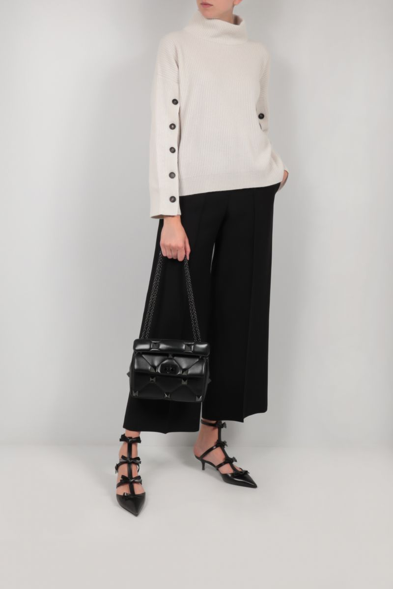 VALENTINO: silk wool blend wide-leg cropped pants Color Black_2