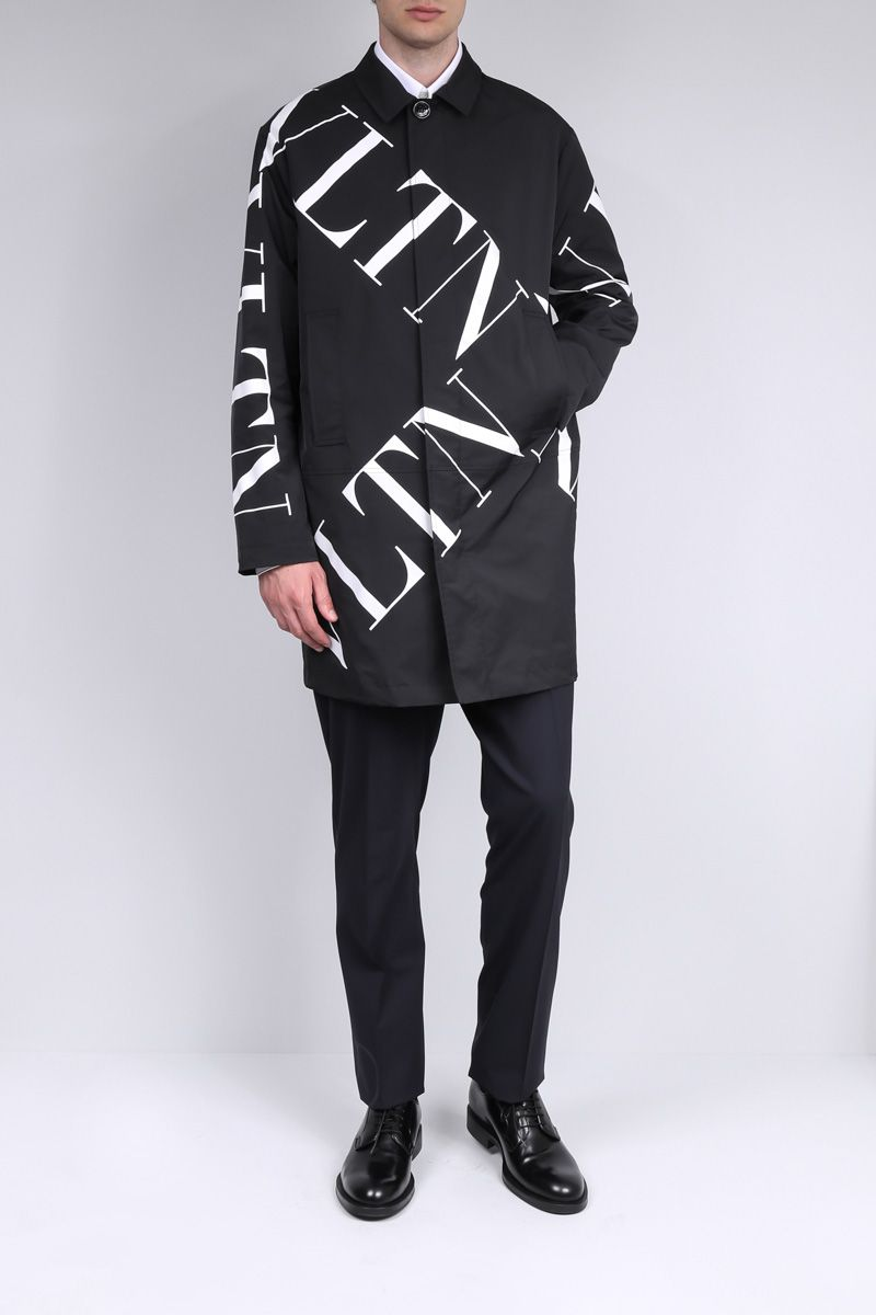 VALENTINO: VLTN Macrogrid technical fabric overcoat Color Black_2